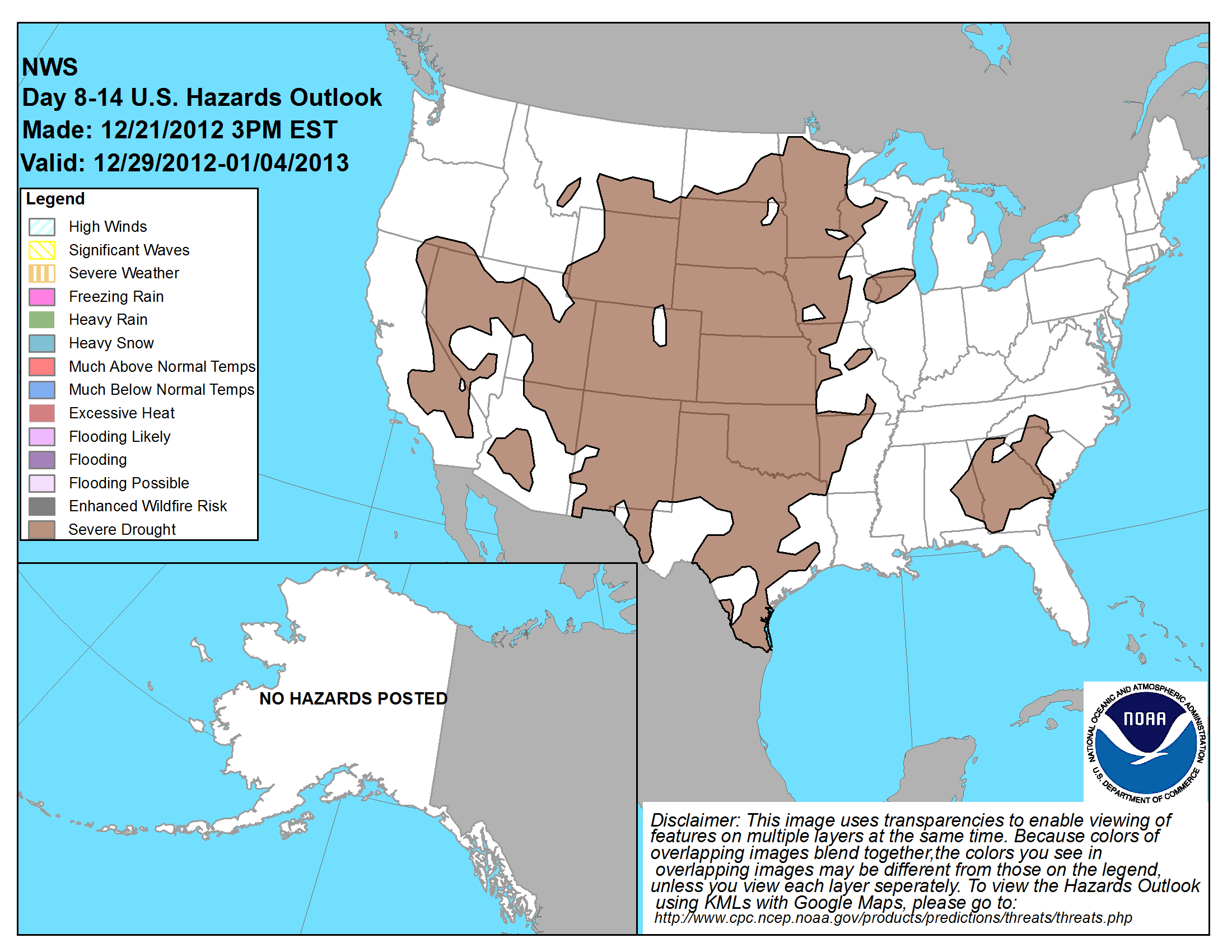 8 - 14 Day Weather Hazards Outlook Contours